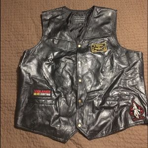 Other - Leather biker vest patches xxl